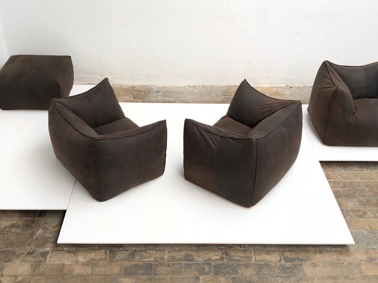 Leather 'Bambole' Living Room Set by Mario Bellini, 1972, Original Period Labels For Sale 3