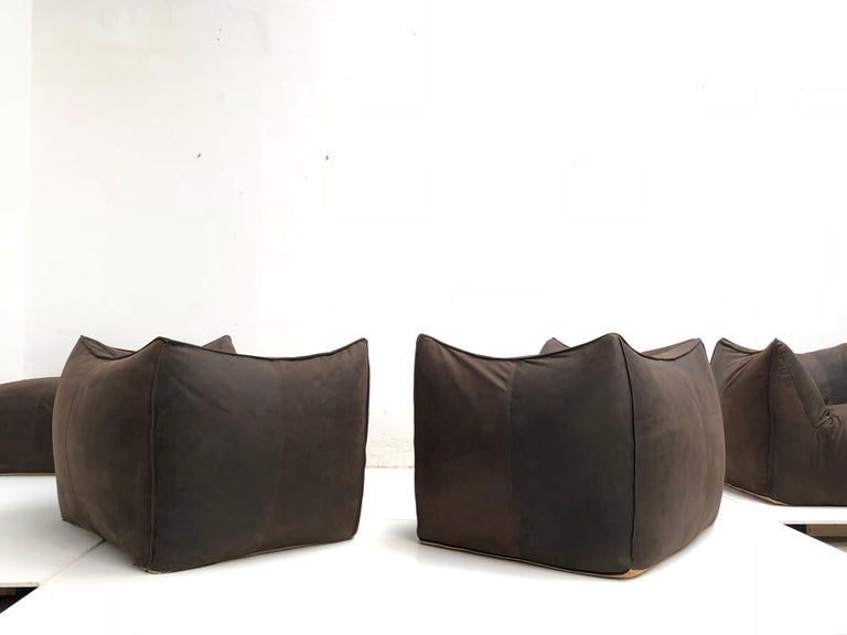 Leather 'Bambole' Living Room Set by Mario Bellini, 1972, Original Period Labels For Sale 1