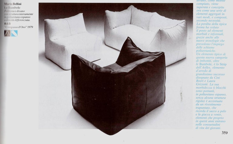 Mid-Century Modern Leather 'Bambole' Living Room Set by Mario Bellini, 1972, Original Period Labels For Sale