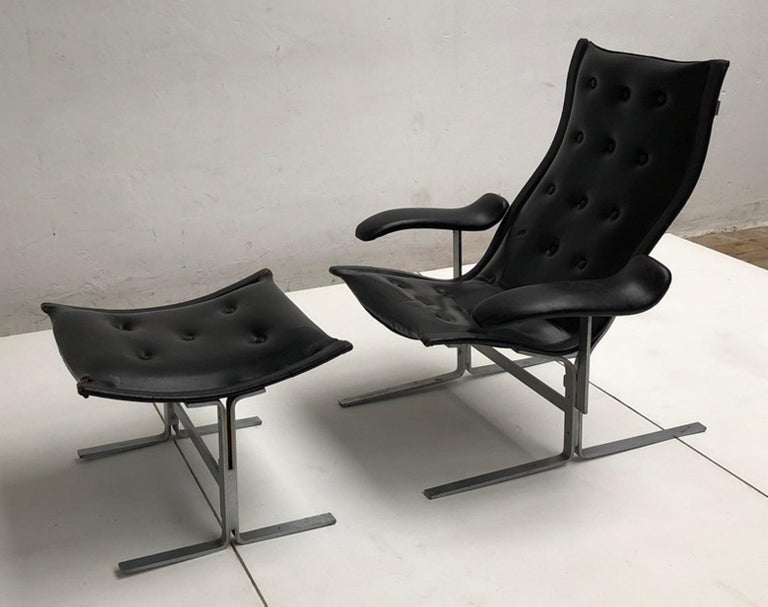 Mid-Century Modern Franco Campo lounge chair & ottoman, two sets in existence ,cert of authenticity For Sale