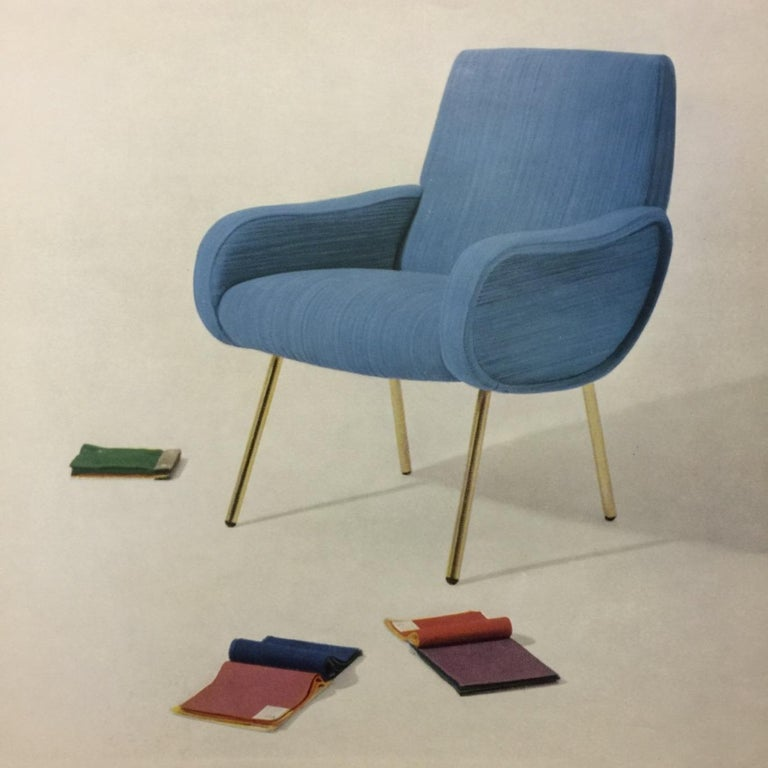 Zanuso Mohair 'Baby' Lounge Chairs, Early Wood Frames, Brass Legs, Arflex,1951 For Sale 8