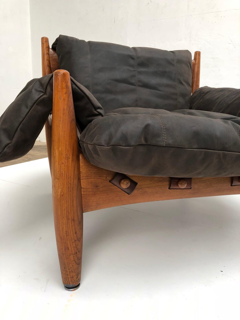 Stunning Leather 'Sheriff' Lounge Chair by Sergio Rodrigues, ISA, Italy, 1961 For Sale 2
