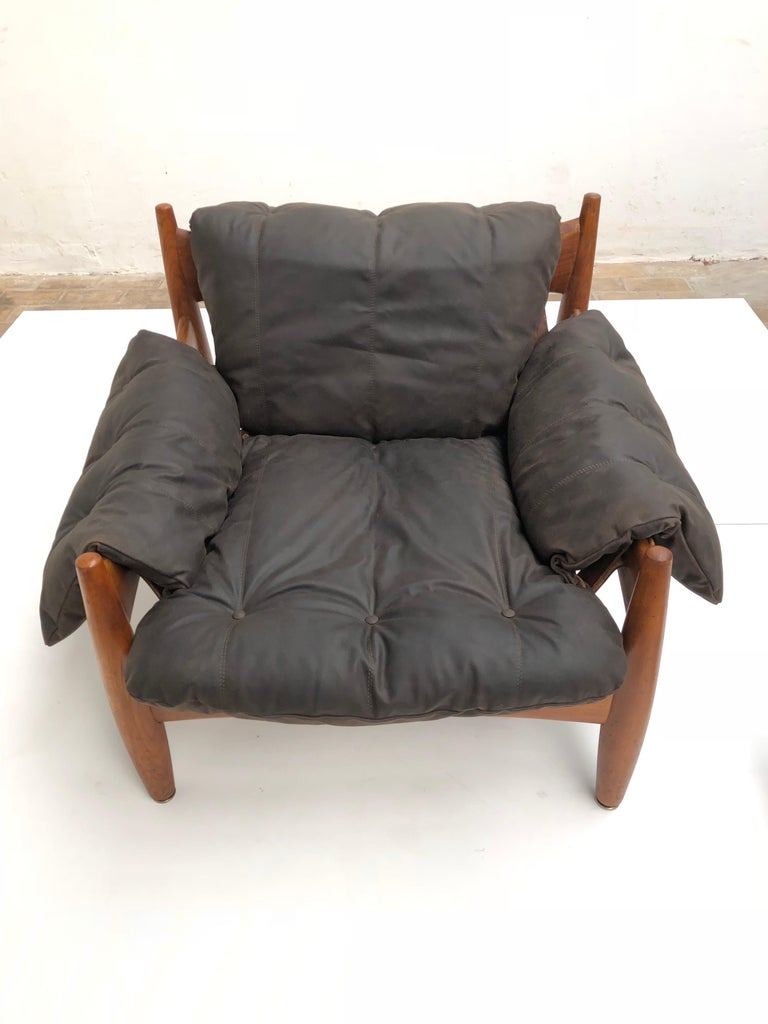 Stunning Leather 'Sheriff' Lounge Chair by Sergio Rodrigues, ISA, Italy, 1961 For Sale 5