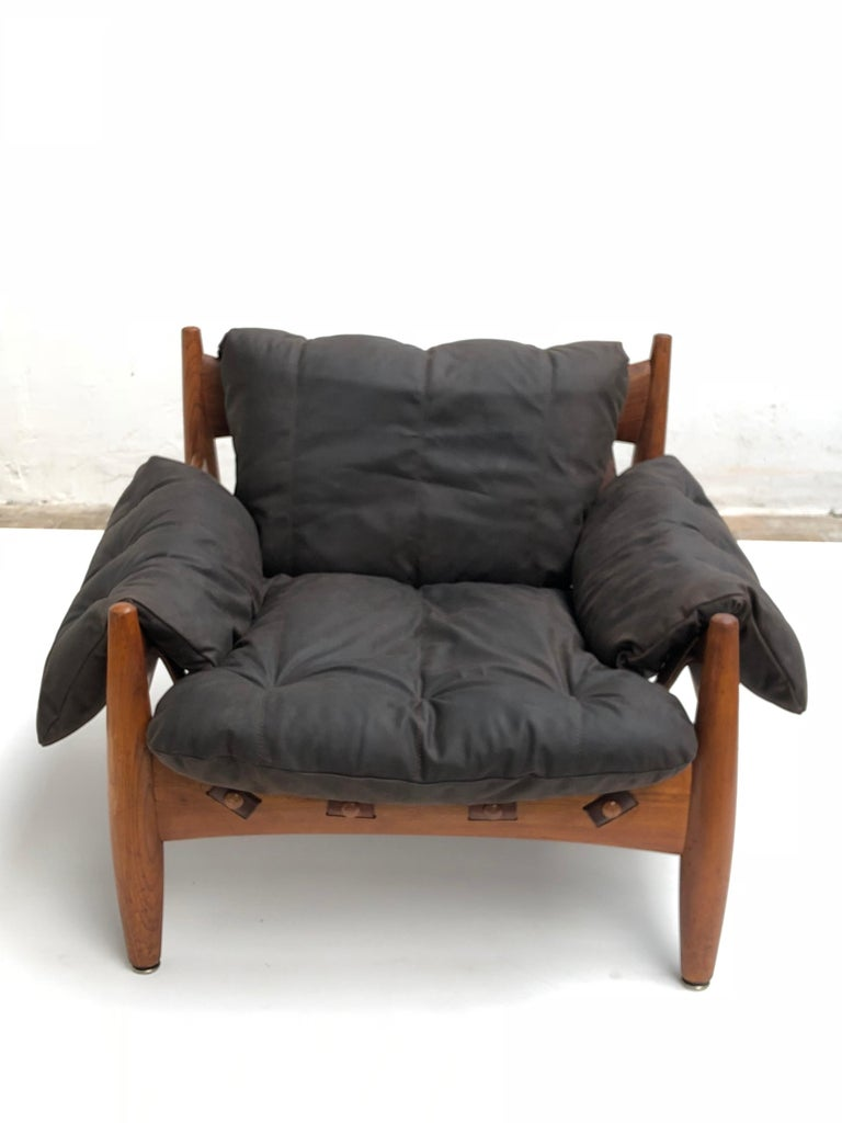 Stunning Leather 'Sheriff' Lounge Chair by Sergio Rodrigues, ISA, Italy, 1961 For Sale 7