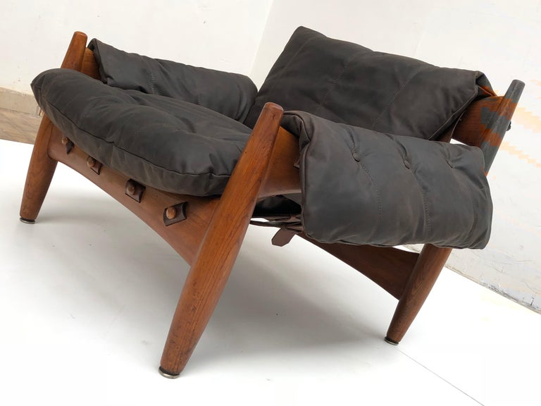 Stunning Leather 'Sheriff' Lounge Chair by Sergio Rodrigues, ISA, Italy, 1961 For Sale 4