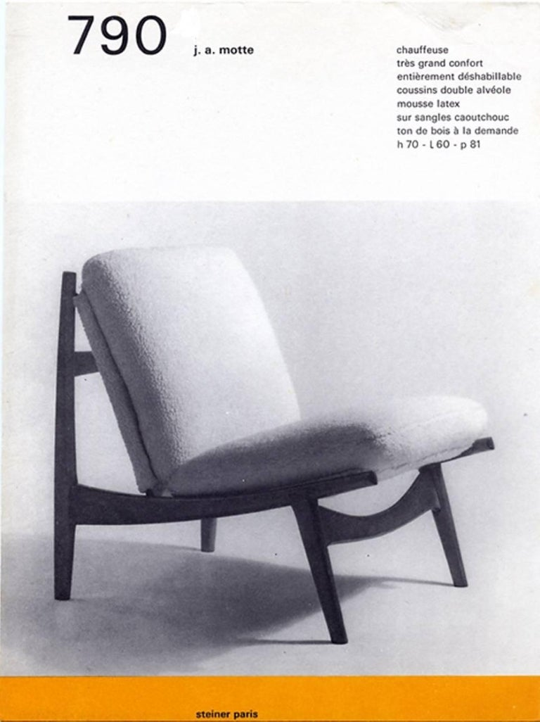 Beautiful, organic form, model '790' lounge chair designed by Joseph Andre Motte (1925-2013) for Steiner, France in 1960.   This chair has been functionally restored salvaging the original rare old wool upholstery as used by Steiner  We