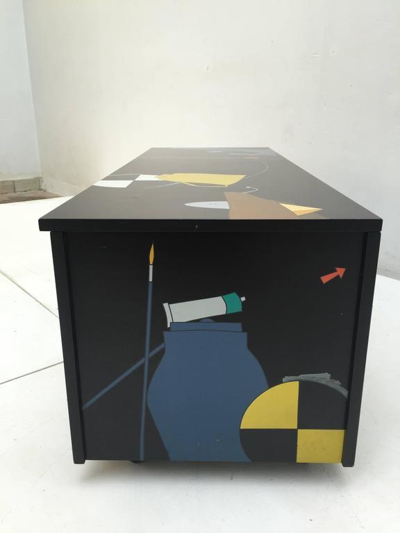 Amazing Serigraphed Cabinet by Artist Emilio Tadini, Published Casa Vogue For Sale 1