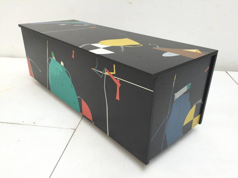 Late 20th Century Amazing Serigraphed Cabinet by Artist Emilio Tadini, Published Casa Vogue For Sale