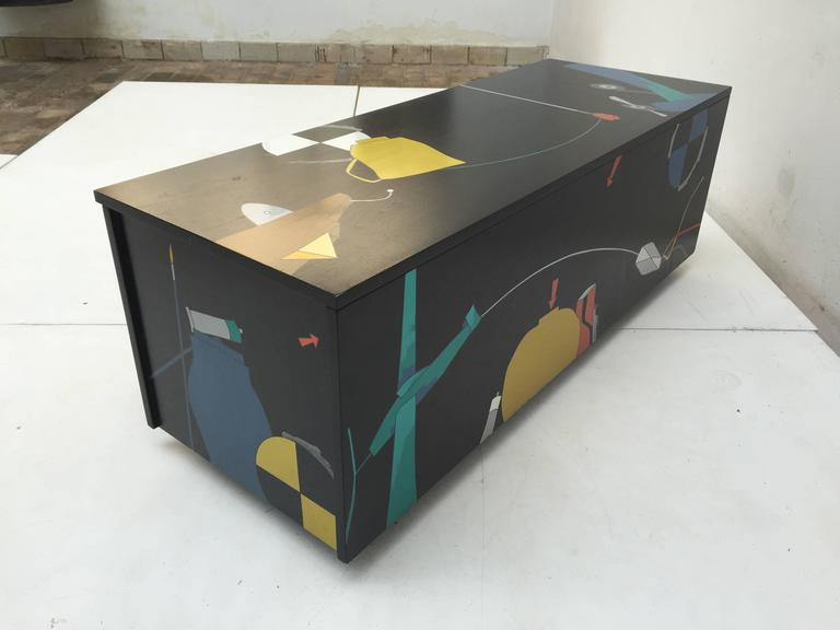 Amazing Serigraphed Cabinet by Artist Emilio Tadini, Published Casa Vogue In Good Condition For Sale In bergen op zoom, NL