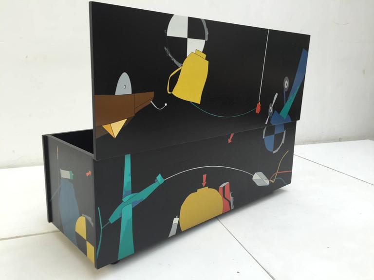 Italian Amazing Serigraphed Cabinet by Artist Emilio Tadini, Published Casa Vogue For Sale