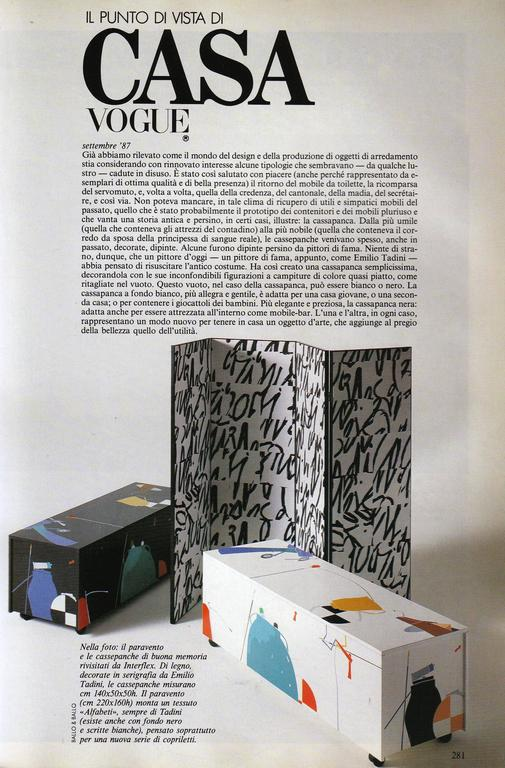 Beautiful and super rare 'Cassapanca di buona memoria' (chest of beautiful memories) by famed Italian artist Emilio Tadini (1927-2002). Tadini was invited to exhibit his paintings at the Venice Biennale in both 1978 and 1982 and was a true polymath