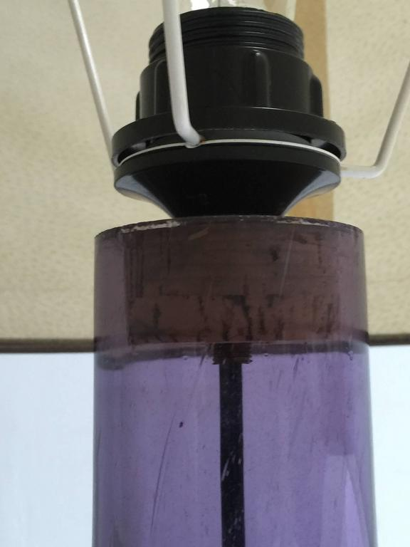 Blown Glass Large 1960s Italian Purple Murano Glass Table or Floor Lamp For Sale