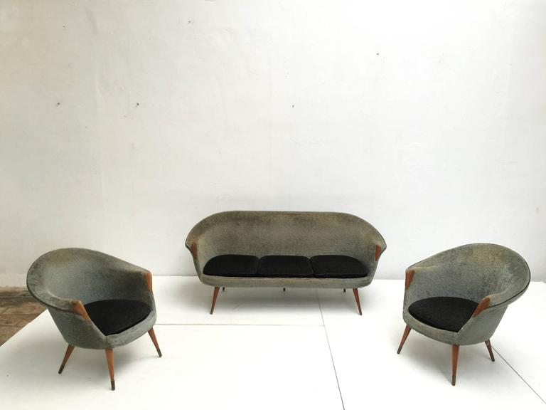 1950s Wool Brass and Teak Danish Sofa and Easy Chairs Attributed to Nanna Ditzel For Sale 4