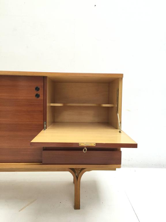 Stunning Ash and Mahogany Credenza Bar by J.A Motte, 1954 for Group 4 Charron 4