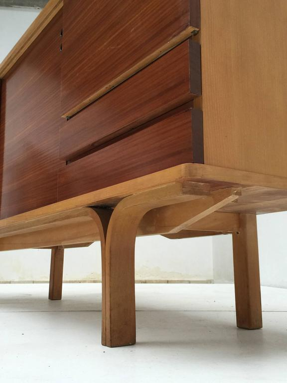 Stunning Ash and Mahogany Credenza Bar by J.A Motte, 1954 for Group 4 Charron 10