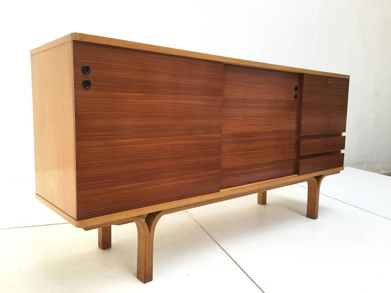 Stunning Ash and Mahogany Credenza Bar by J.A Motte, 1954 for Group 4 Charron 7