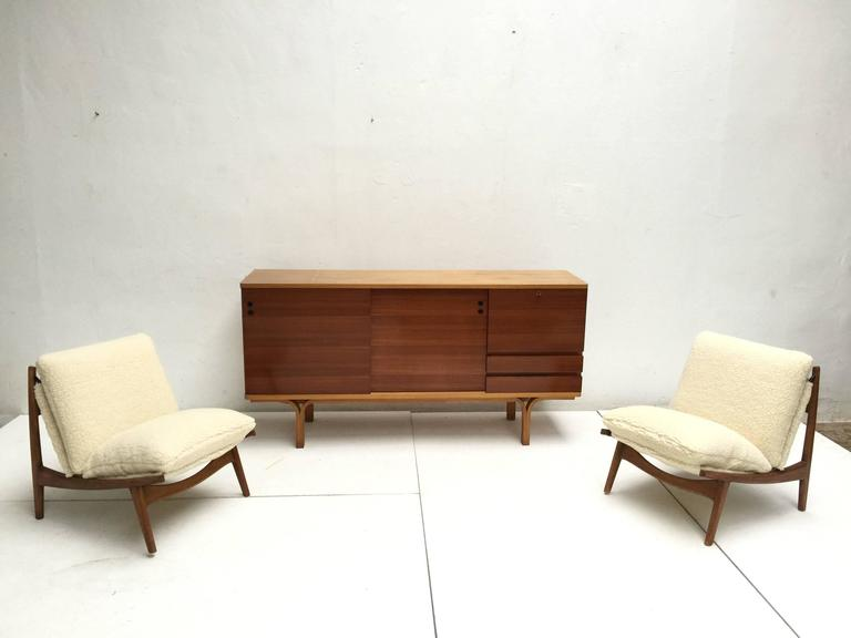 Mid-20th Century Stunning Ash and Mahogany Credenza Bar by J.A Motte, 1954 for Group 4 Charron For Sale