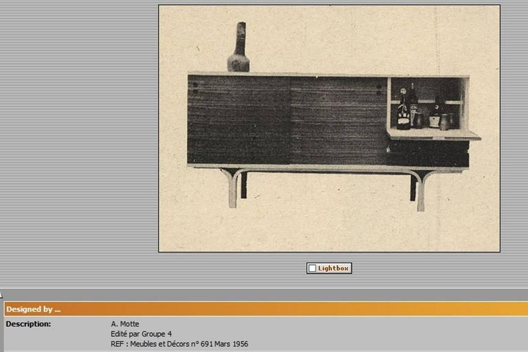 Stunning Ash and Mahogany Credenza Bar by J.A Motte, 1954 for Group 4 Charron 3