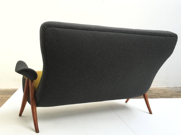 Stained Stunning Theo Ruth Model 105 'Hair Pin' Sofa for Artifort with Kvadrat Wool For Sale