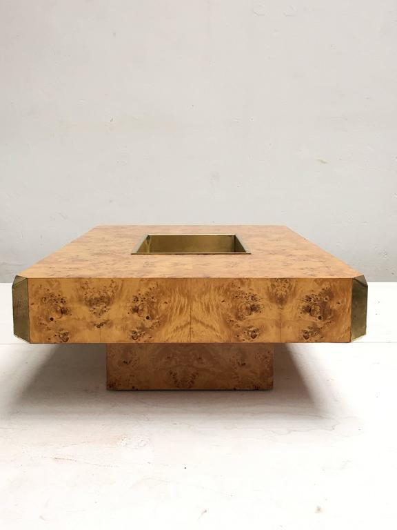 Beautiful Burl Wood Brass Coffee Table By Rizzo 1973 Casa Vogue For