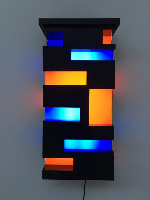 Enameled Steel And Plexiglas De Stijl Style Light