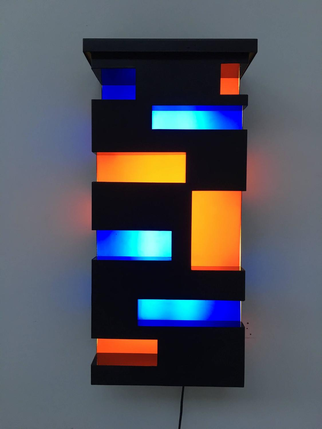 Enameled Steel And Plexiglas De Stijl Style Light