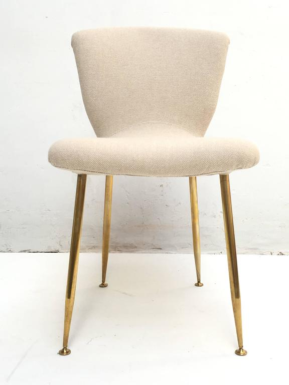 12 dining chairs by Louis Sognot for ARFLEX,1959. Brass legs,Upholstery restored 8
