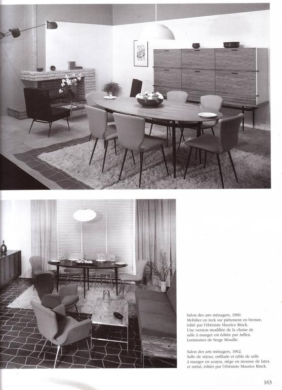 12 dining chairs by Louis Sognot for ARFLEX,1959. Brass legs,Upholstery restored 2