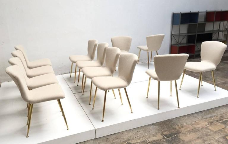 12 dining chairs by Louis Sognot for ARFLEX,1959. Brass legs,Upholstery restored 7