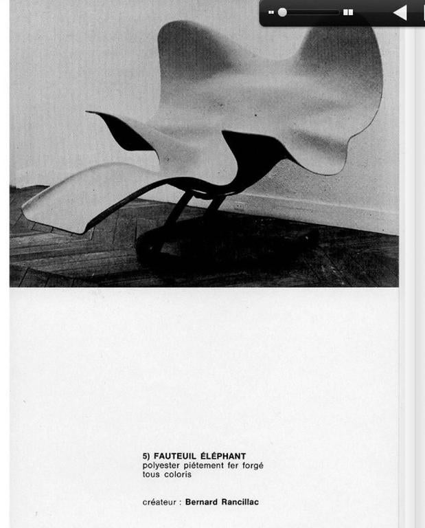 Wonderful prototype 'Elephant' chaise designed by French artist Bernard Rancillac in 1966. The highly stylised 'elephant' form is created in fibre glass and is supported on an enameled wrought iron cradle base.   Examples can be found in the