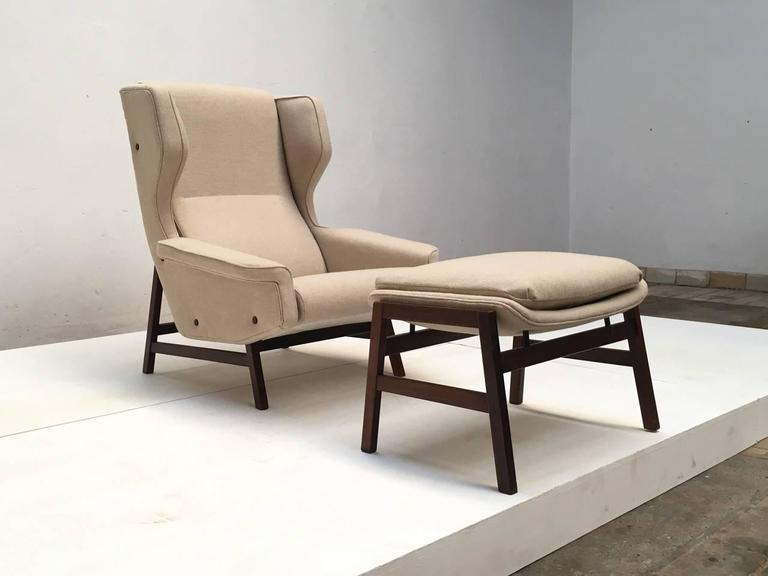 Ultra Rare Rosewood Gianfranco Frattini 877 Lounge Chair & Ottoman,Cassina,1959 In Good Condition For Sale In bergen op zoom, NL