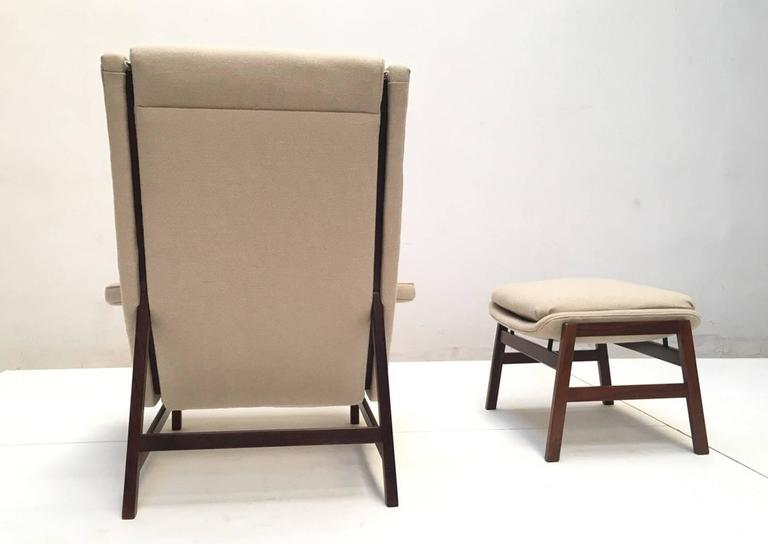 Mid-20th Century Ultra Rare Rosewood Gianfranco Frattini 877 Lounge Chair & Ottoman,Cassina,1959 For Sale