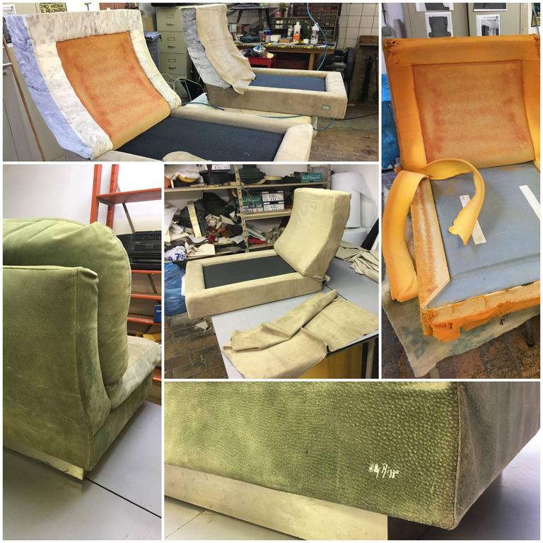 Superb Pair of Suede Willy Rizzo Lounge Chairs, Signed Studio Willy Rizzo, 1969 For Sale 3