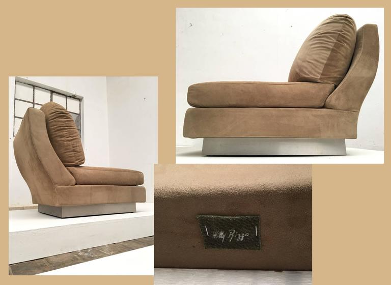 Mid-20th Century Superb Pair of Suede Willy Rizzo Lounge Chairs, Signed Studio Willy Rizzo, 1969 For Sale