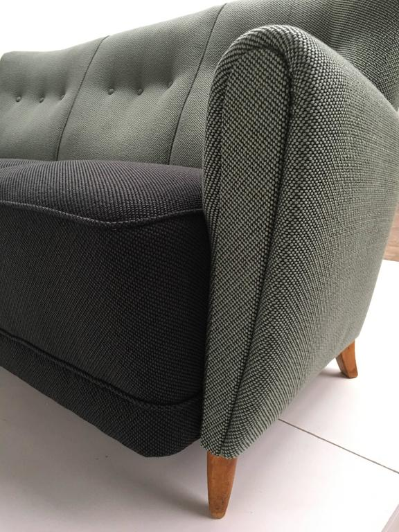 Dutch Rare Theo Ruth Three-Seat Sofa with New De Ploeg Upholstery, Artifort, 1955 For Sale