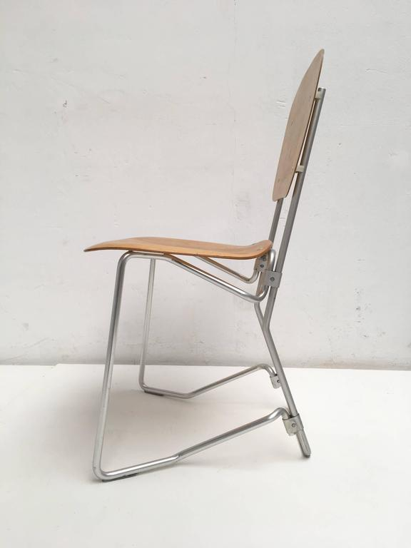 Swiss 12 Birch and Aluminium Chairs by Armin Wirth for Aluflex, Switzerland, 1951 For Sale