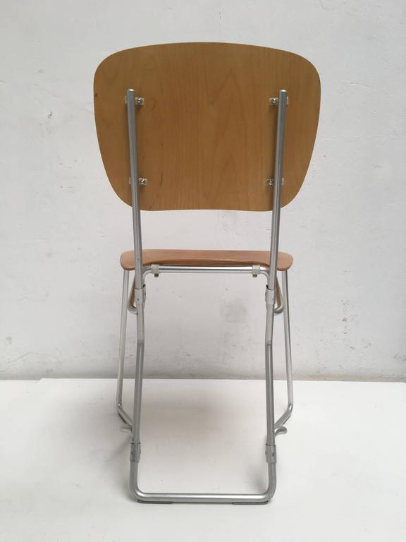 Veneer 12 Birch and Aluminium Chairs by Armin Wirth for Aluflex, Switzerland, 1951 For Sale