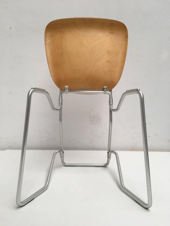 Mid-Century Modern 12 Birch and Aluminium Chairs by Armin Wirth for Aluflex, Switzerland, 1951 For Sale