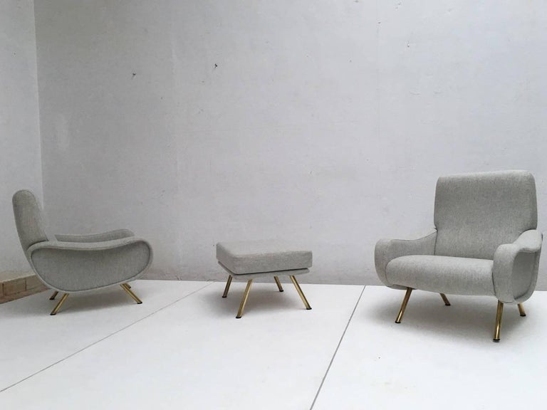 Superb Zanuso 'Lady' Chairs, 1951, Early Wood Frames with 1st edition ottoman  4
