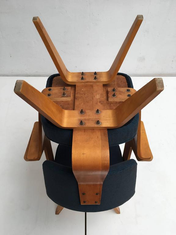 Pair of Plywood Cor Alons HF506 Easy Chairs for Den Boer Gouda the Netherlands For Sale 1
