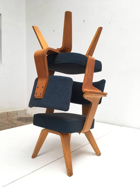 Pair of Plywood Cor Alons HF506 Easy Chairs for Den Boer Gouda the Netherlands 6