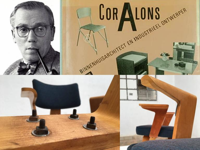 Mid-Century Modern Pair of Plywood Cor Alons HF506 Easy Chairs for Den Boer Gouda the Netherlands For Sale