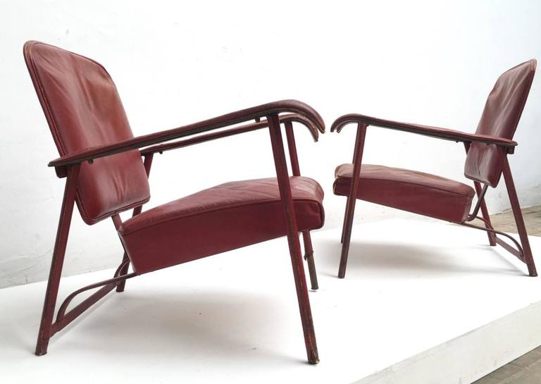 Pair of Adnet Lounge Chairs, Hand Stitched Leather, Price Incl Restoration 2