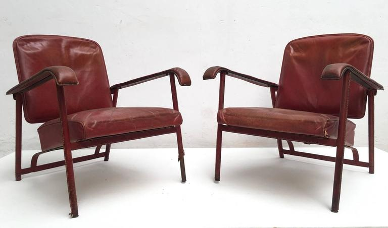 Pair of Adnet Lounge Chairs, Hand Stitched Leather, Price Incl Restoration 4