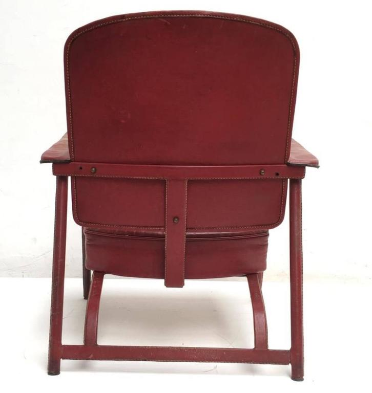 Pair of Adnet Lounge Chairs, Hand Stitched Leather, Price Incl Restoration 6
