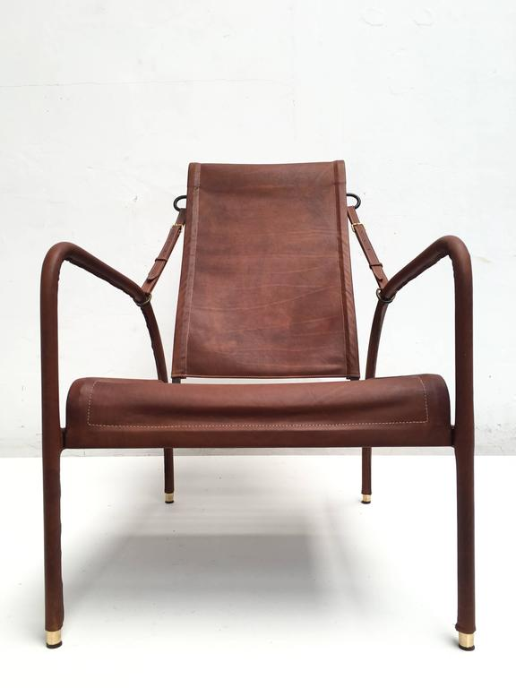 Enameled Jacques Adnet Lounge Chair Restored with Photos of Restoration Process, 1950 For Sale