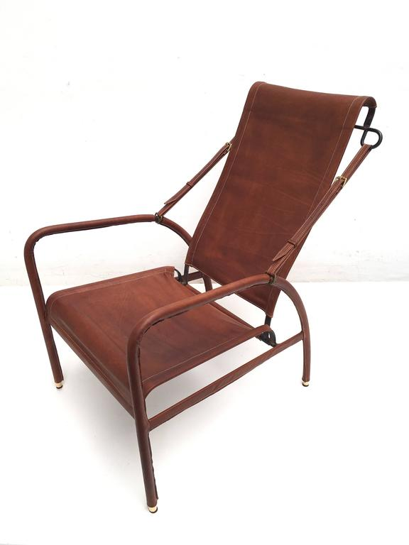 Brass Jacques Adnet Lounge Chair Restored with Photos of Restoration Process, 1950 For Sale