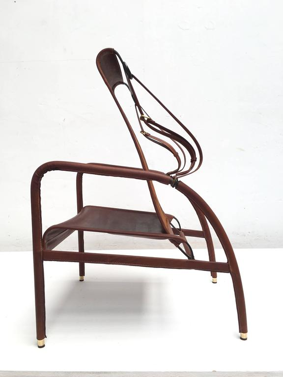 French Jacques Adnet Lounge Chair Restored with Photos of Restoration Process, 1950 For Sale