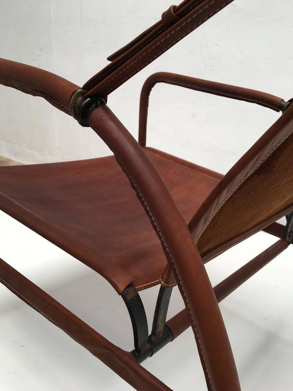Mid-20th Century Jacques Adnet Lounge Chair Restored with Photos of Restoration Process, 1950 For Sale