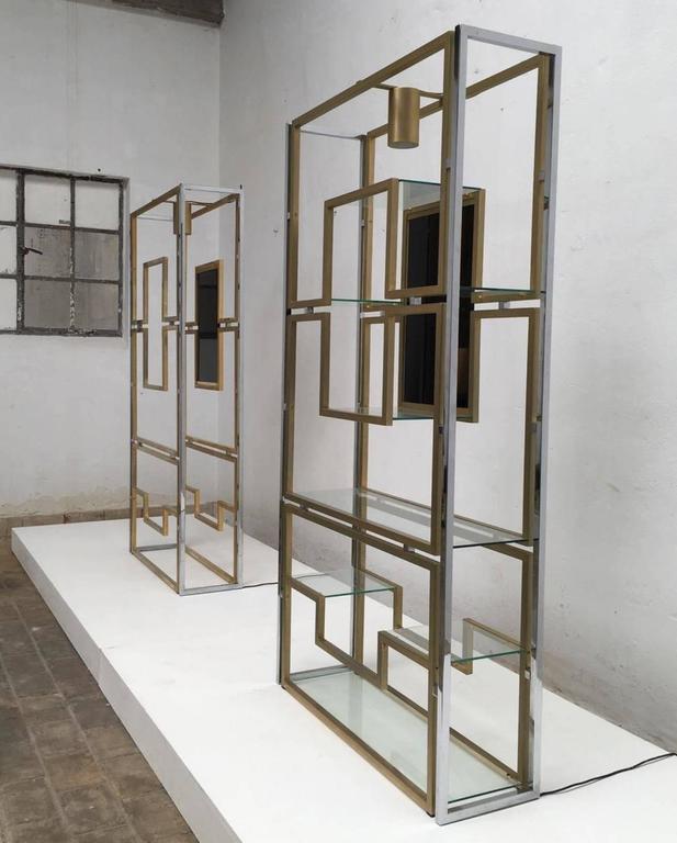 Elegant Pair of Illuminated Brass, Chrome, Glass Étagère by Kim Moltzer, 1968 3
